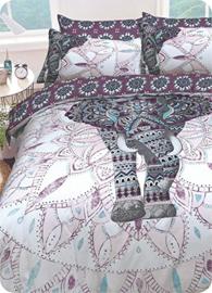 Olifant Mandala purple dekbedovertrek - Lits Jumeaux  met 2 kussenslopen