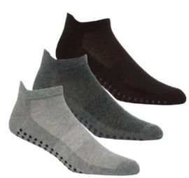 Antislip sport sokken -yoga -pilates - gym - maat 39/46 set van 3 paar grijs/antraciet/zwart