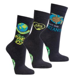 Milieu bewuste sokken - set van 3 paar - save the planet / ocean / recycling - maat 42-47
