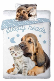 Dieren dekbedovertrek - Sleepy Heads  - poes en hond