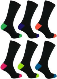 Neon sokken 6 paar zwart met gekleurde  hiel en teen maat 39 - 46