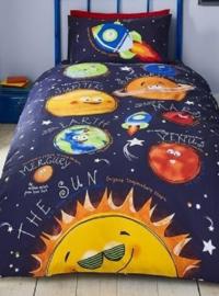Ruimtevaart dekbedovertrek planeten, raketten en sterren
