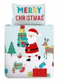 Kerst dekbedovertrek Merry Christmas - Love from Santa - 1 persoons met 1 kussensloop