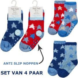 Anti slip fluffy baby sokjes - set van 4 paar - maat 15-18