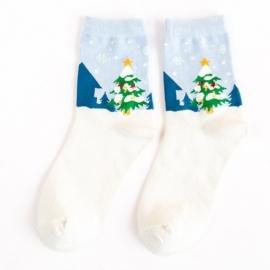 Kerst sokken roomwit met blauw met een kerstafbeelding in maat 34 - 38