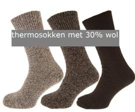 Thermosokken 30% wol, zonder knellend boord, set van 3 paar, bruin mix, maat 39 - 45
