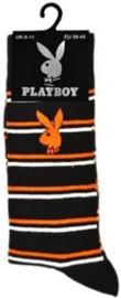 Playboy heren sokken zwart met oranje en witte strepen in maat 39 - 45