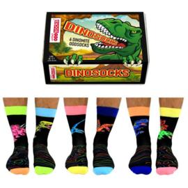 Oddsocks Mismatched sokken - Cadeaudoos met 6 verschillende sokken - Dino Socks - maat 39 - 46