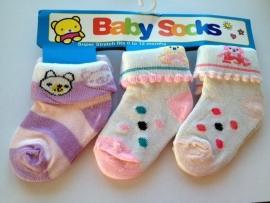 babysokjes model E set van 3 paar van 0 tot 12 maanden