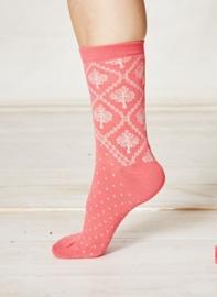 Bamboe dames sokken - Crabapple red orange -  maat 37-40