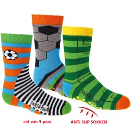 Anti slip sokken voetbal - set van 3 paar - maat 19-22