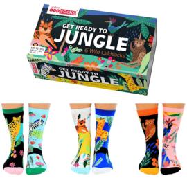 Oddsocks - Mismatched sokken - Cadeaudoos met 6 verschillende sokken - Get ready to Jungle - maat 32 tot 38