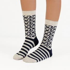 Ballonet Sand heren sokken mt 41 - 46 zandkleur met donkerblauw