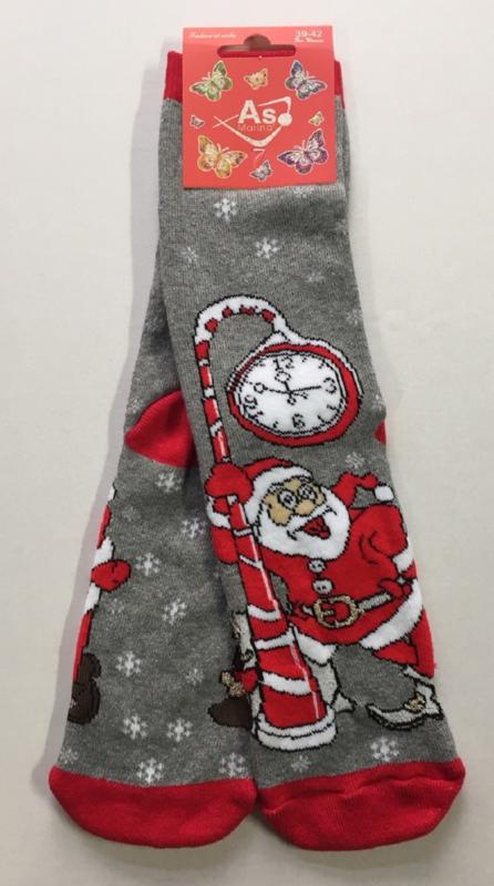 Kerst sokken Santa  met klok en lurex maat 39 - 42