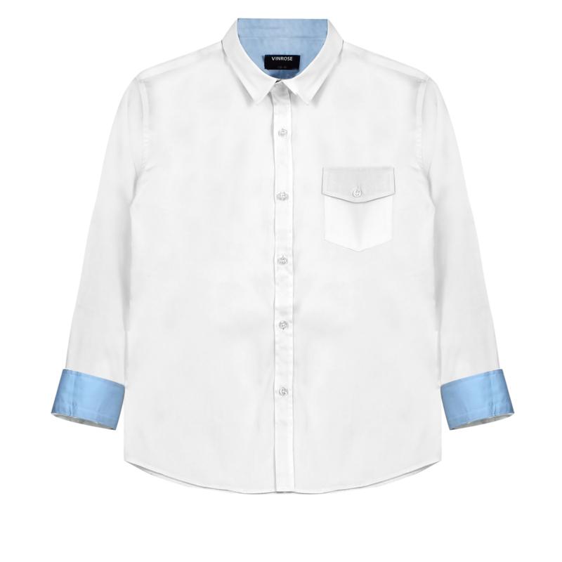 Vinrose Overhemd Vinchenzo Wit met blauw 134/140