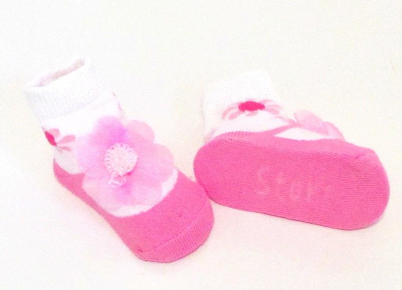 Baby sokje in ballet schoentjes model  roze/wit/bloem in cadeau zakje