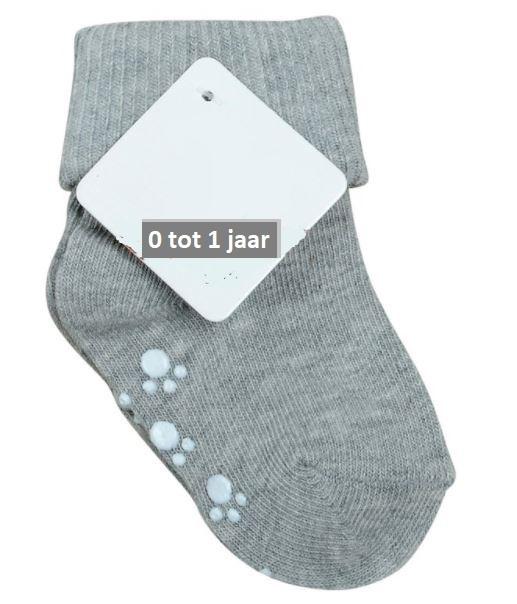 4820 antislip sokken grijs met omslag in baby maat