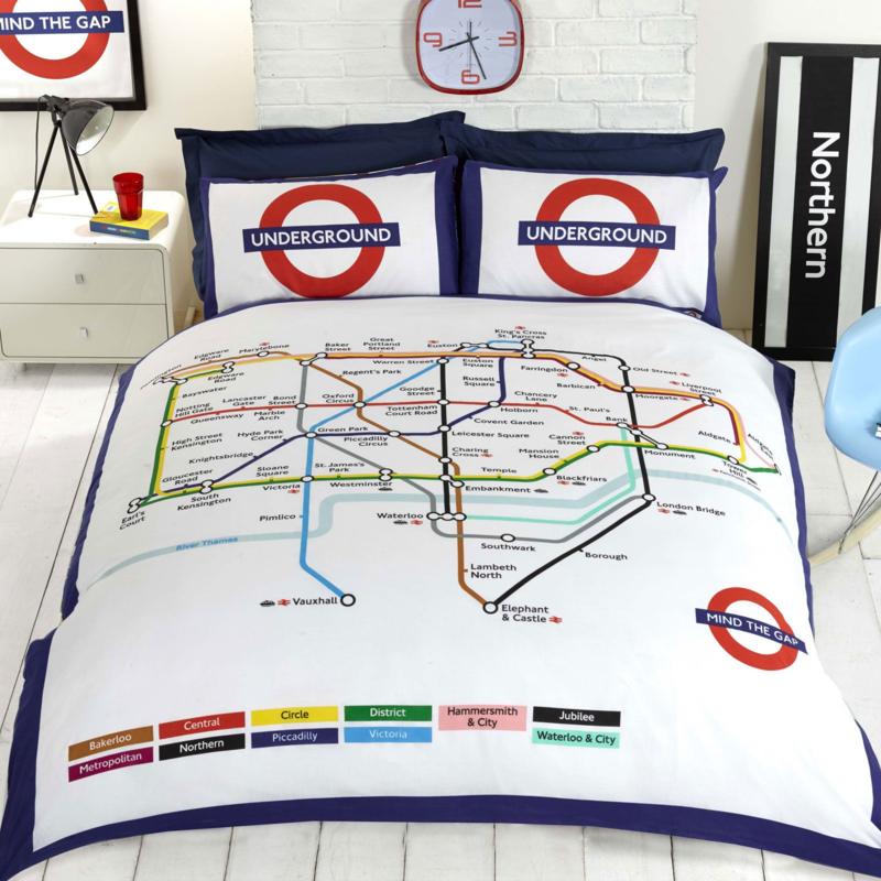 Londen metro dekbedovertrek  London Underground - Lits jumeaux met 2 x kussensloop