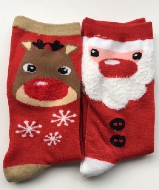Kerst  fun sokken set van 2 paar kerstman en rendier maat 35 - 38