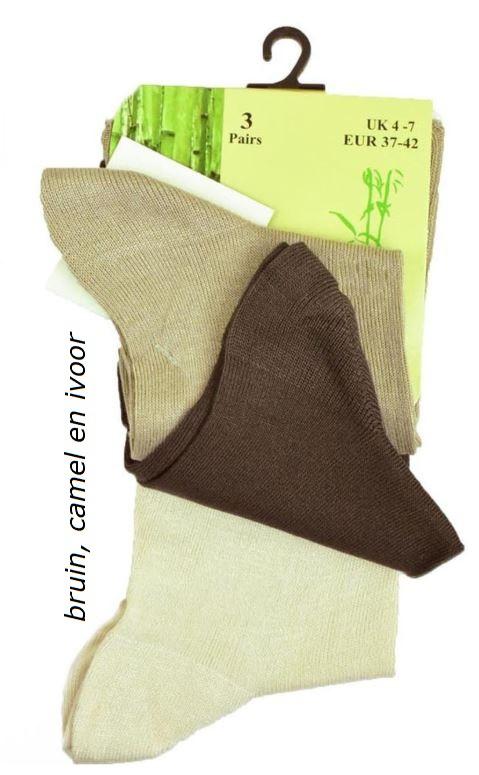 Set van 3 paar bamboe viscose sokken, bruin mix,  maat 37-42