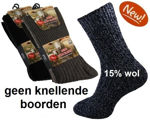Thermosokken 15% wol, zonder knellend boord, set van 3 paar, maat 39 - 45