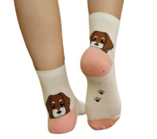 Hondje boven de hiel sokken zalm, ivoor, grijs, maat 35 - 38