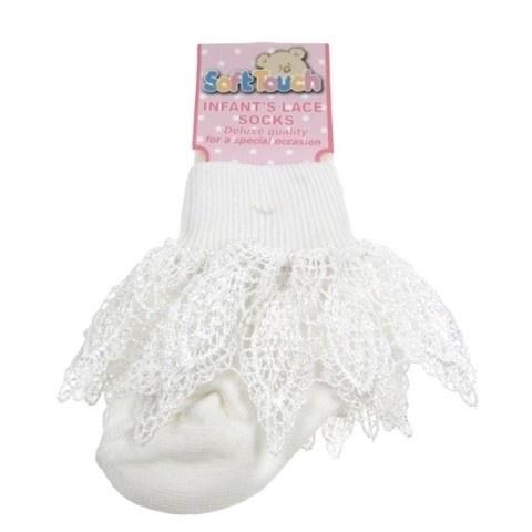Witte baby sokjes met kanten rand