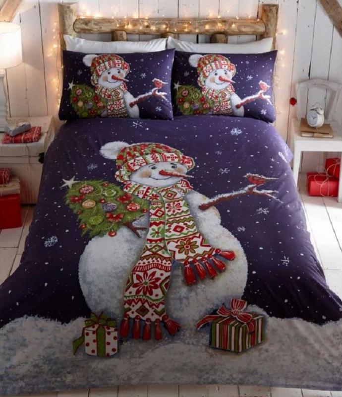 Kerst dekbedovertrek Sneeuwpop - Happy Snowman - 2 persoons met 2 kussenslopen