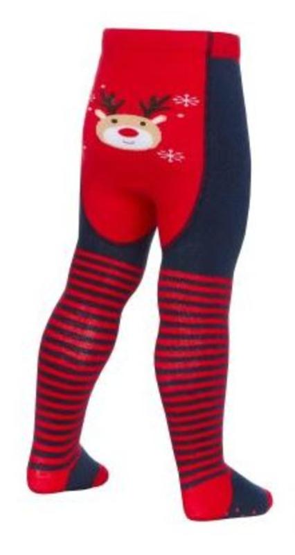 baby maillot blauw met rood en rendier afbeelding - 0/6 mnd