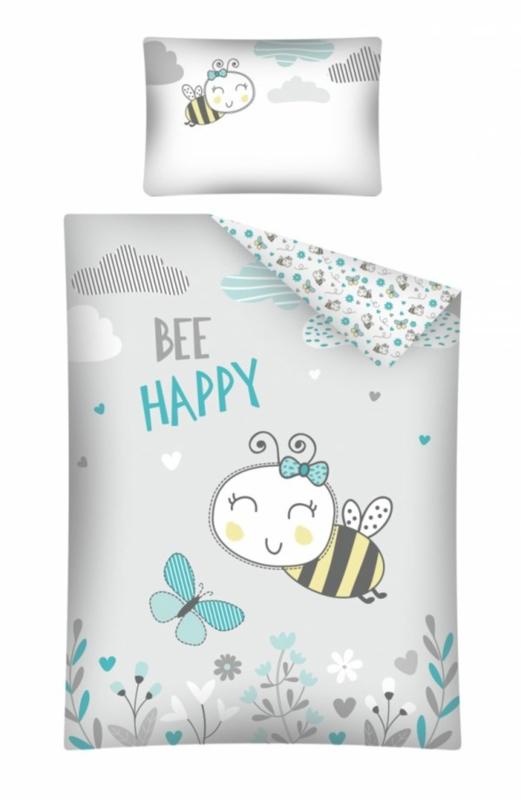 Bij dekbedovertrek set in ledikant maat Bee Happy grijs/mint