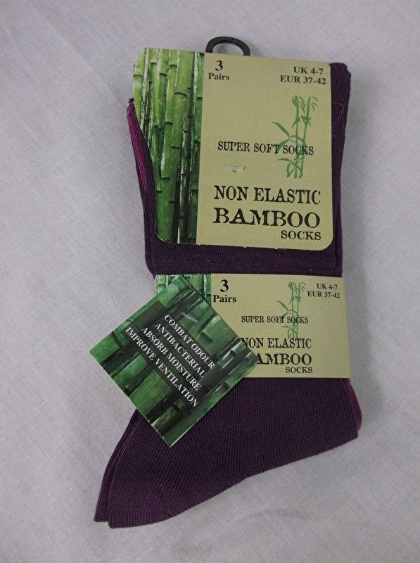 Set van 3 paar bamboe viscose sokken, purple mix, maat 37-42
