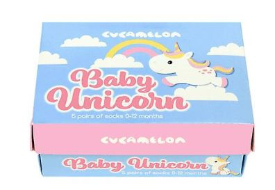Cadeaudoosje met 5 paar babysokjes - Baby Unicorn