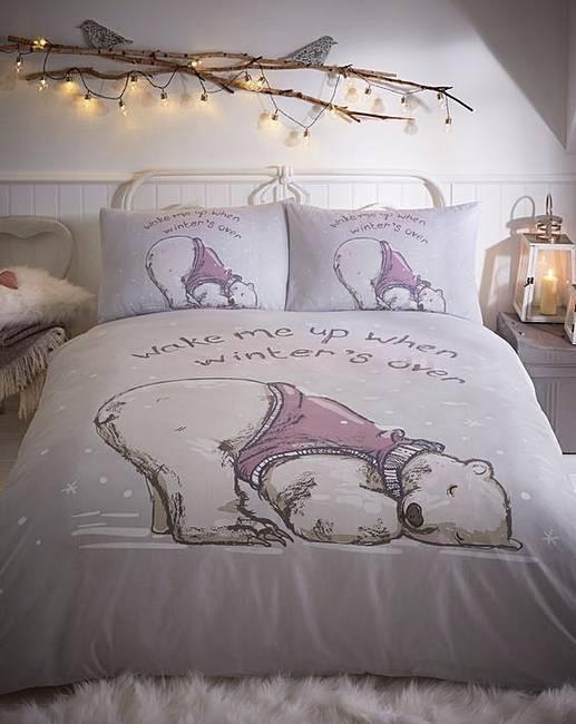 Winterslaap dekbedovertrek Lazy Bear - Lits-jumeaux met 2 kussenslopen