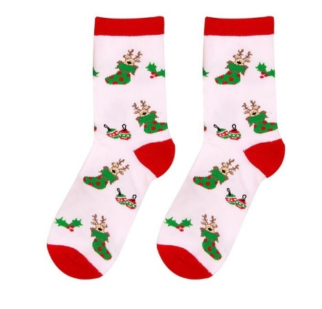 Kerstsokken maat 35 - 38 rood en offwhite met kerstafbeeldingen
