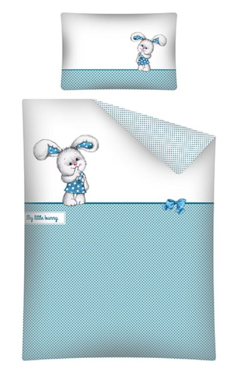 Konijntje dekbedovertrek set in ledikant maat My little Bunny blauw wit