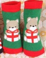 Kinder sokken maat 18 - 23 rood groen wit beer