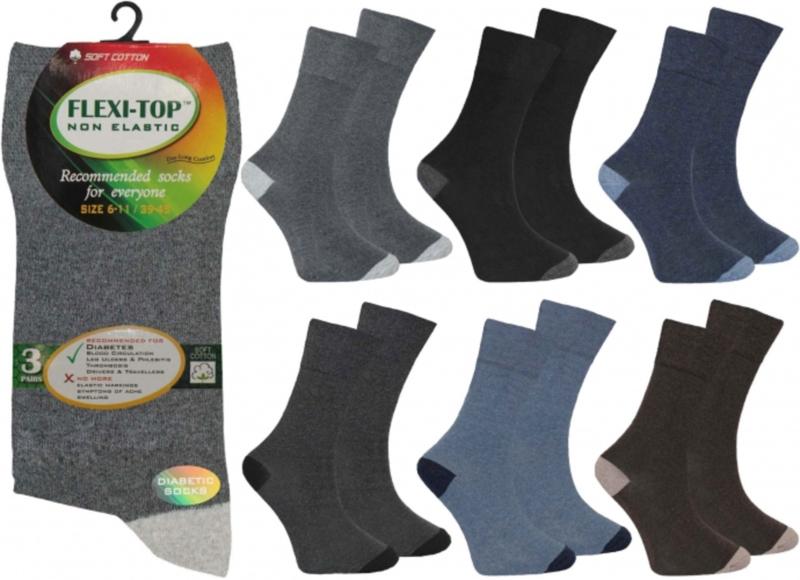 Non Elastic Flexi top sokken set van 3 paar  verschillende effen sokken mt 39 - 45