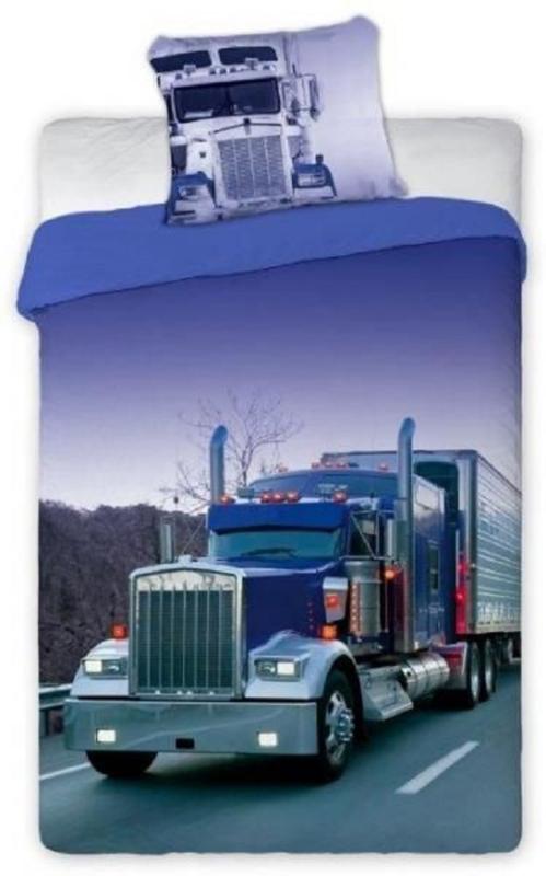 Vrachtauto dekbedovertrek  - Vrachtwagen - Truck- Paars