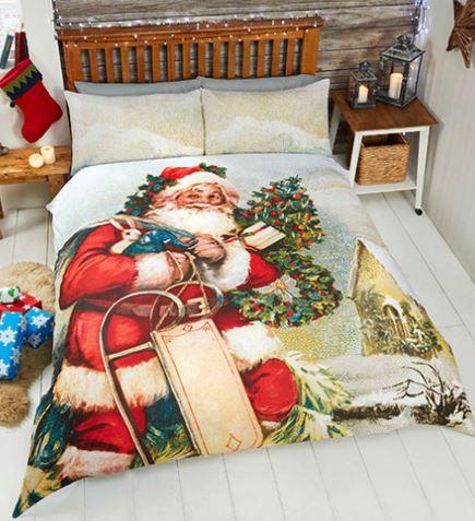Kerst dekbedovertrek Kerstman in de sneeuw  - 2 persoons met 2 kussenslopen
