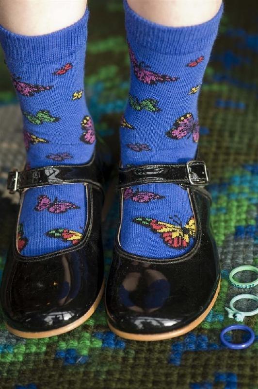 Bonnie Doon Vlinder kindersokken royal blauw