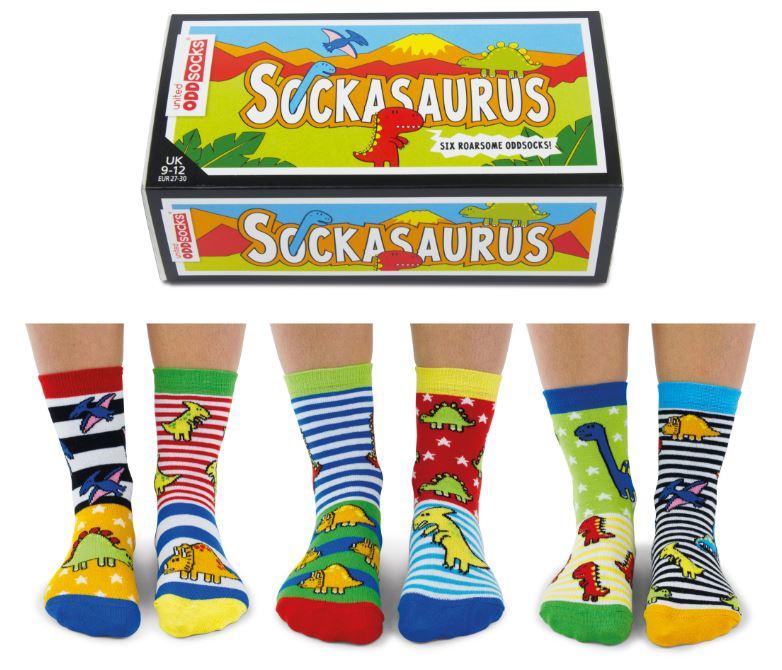Oddsocks - Mismatched sokken - Cadeaudoos met 6 verschillende sokken - Sockasaurus - maat 27 - 30