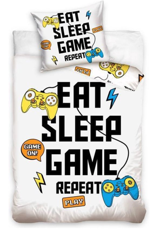 Gamers Eat Sleep Game Repeat dekbedovertrek - eenpersoons met kussensloop