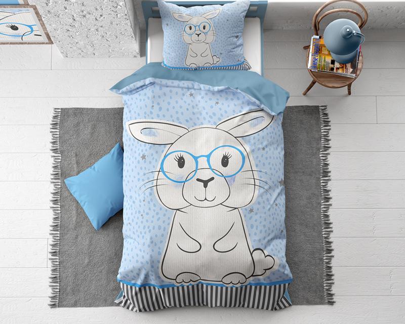 Konijn fantasie dekbedovertrek Rabbit Blue