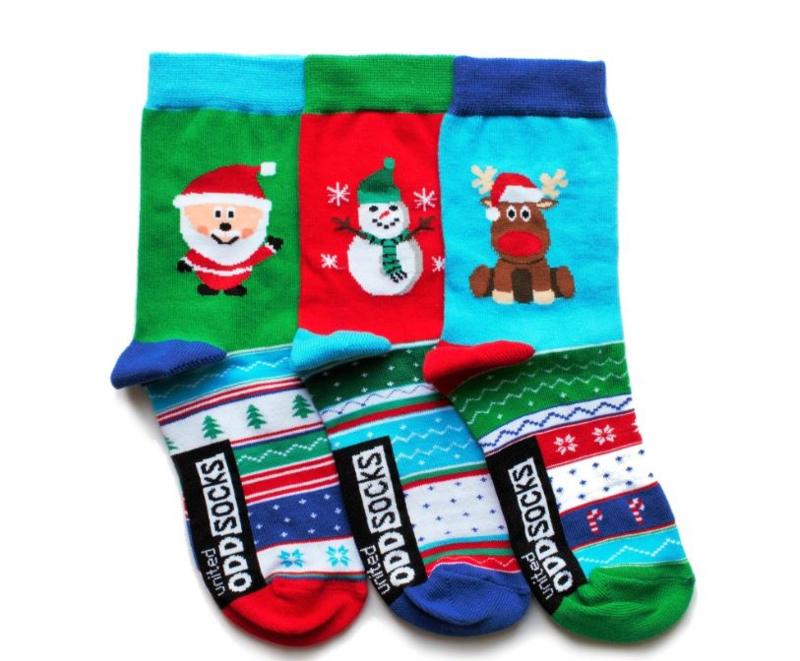 Oddsocks Snow - Mismatched verschillende kerst sokken - 3 sokken - maat 30,5 tot 38,5