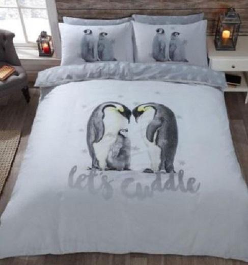 Dieren dekbedovertrek - Pinguins  Lets Cuddle - eenpersoons met 1 kussensloop