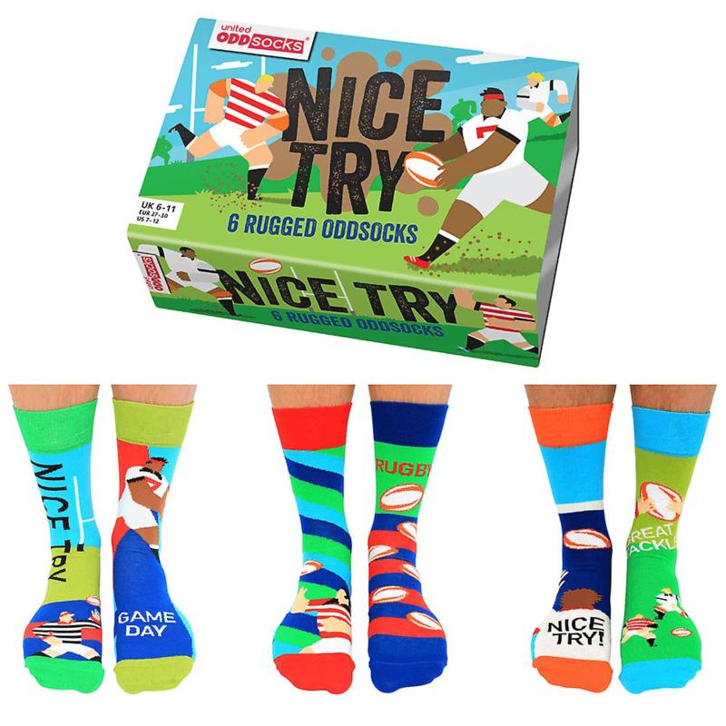 Rugby sokken - Oddsocks Nice Try - 6 verschillende mismatched sokken  - maat 39-46