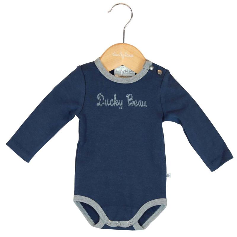 Ducky Beau romper - Blauw met grijs lange mouw  - maat 80