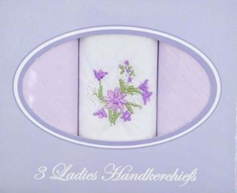 Cadeau doosje met 3 dames zakdoeken wit met lila