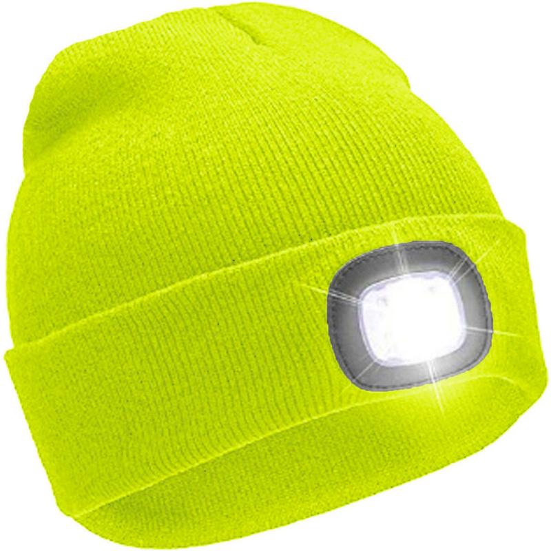 NEON GEEL beanie muts met LED lamp in 3 sterktes - voor dames / heren / tieners – vervangbare batterij