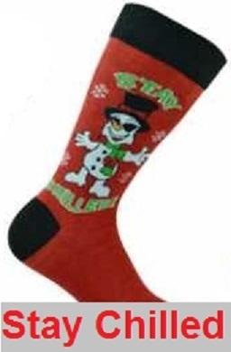 Kerstsokken in maat 39 - 45 rood met sneeuwman Stay Chilled